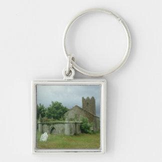 Medieval church and churchyard keychain