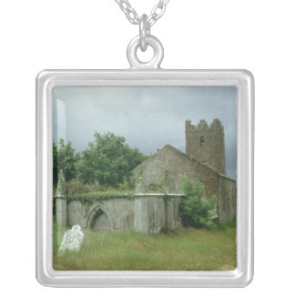 Medieval church and churchyard personalized necklace