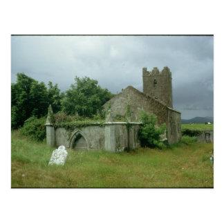Medieval church and churchyard postcard
