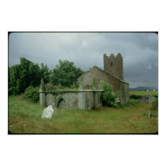 Medieval church and churchyard poster