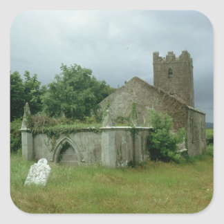 Medieval church and churchyard square sticker