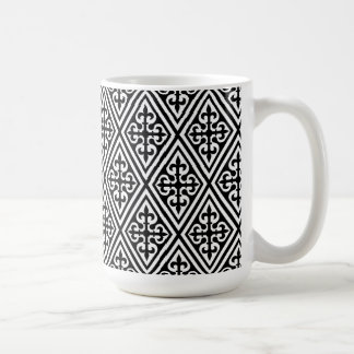 Medieval Cross Damask - Black and White Basic White Mug