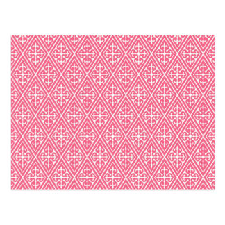 Medieval Damask Diamonds, coral pink & white Postcard