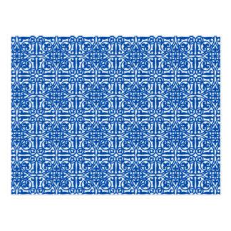 Medieval Damask Fleur-de-lis, cobalt blue Postcard