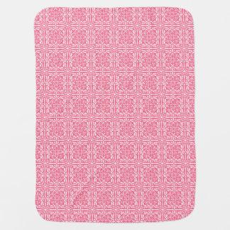 Medieval Damask Fleur-de-lis, coral pink & white Baby Blankets