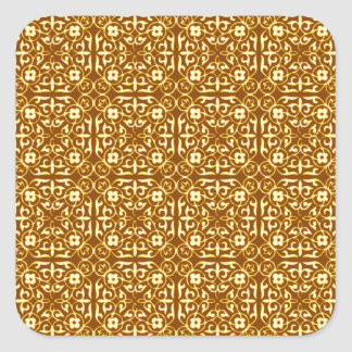 Medieval Damask pattern, copper and cream Square Sticker
