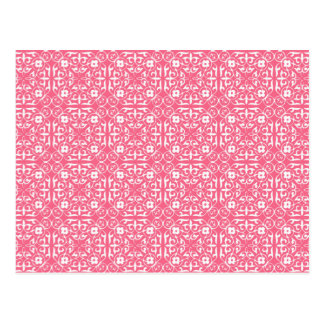 Medieval Damask pattern, coral pink & white Post Card