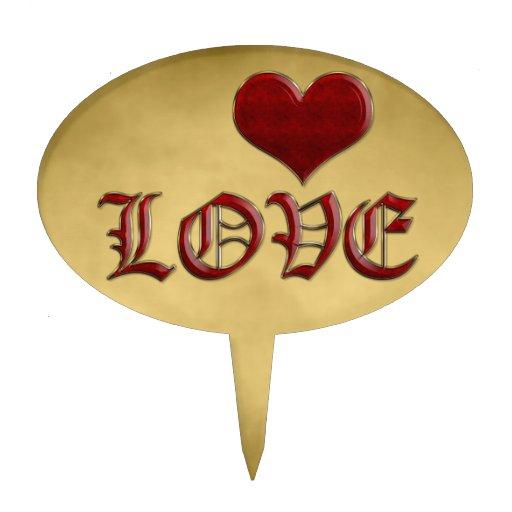 Medieval Deep Red Heart Love Classic Gold Metallic Cake Picks
