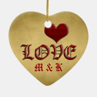 Medieval Deep Red Heart Love Classic Gold Metallic Ceramic Heart Decoration