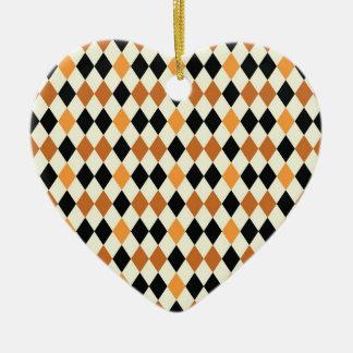 Medieval Diamond Harlequin Gold Black White Design Ceramic Heart Decoration