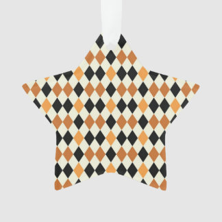 Medieval Diamond Harlequin Gold Black White Design Ornament