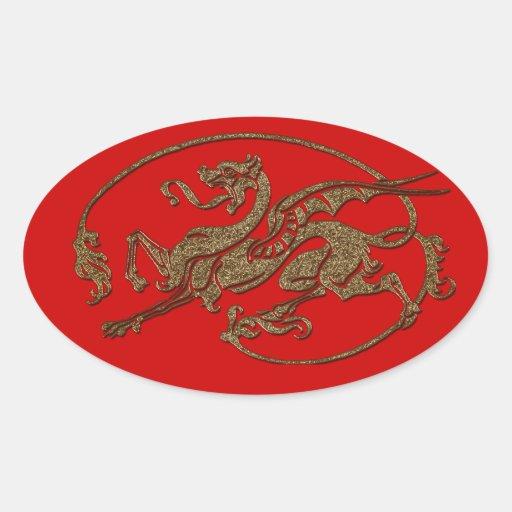 Medieval Dragon Antique Art Designer Gift Oval Sticker