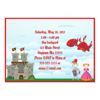Medieval Dragon Knight Birthday Invitation