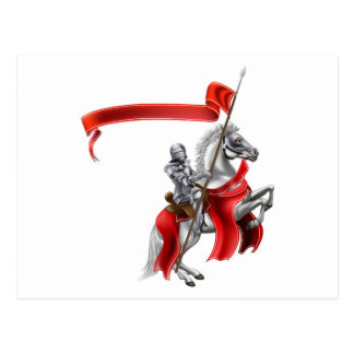 Medieval Flag Knight on Horse Postcard