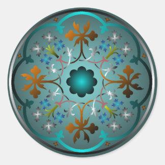 Medieval Floral Pattern Round Sticker