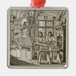 Medieval German printing press (engraving) Christmas Ornament