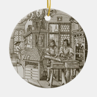 Medieval German printing press (engraving) Christmas Ornament