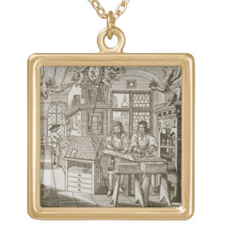Medieval German printing press (engraving) Gold Plated Necklace