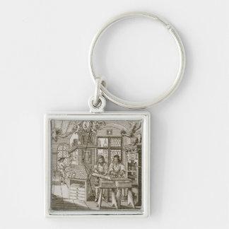 Medieval German printing press (engraving) Silver-Colored Square Key Ring