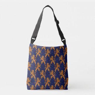 Medieval Gold Lion Blue Fleur de Lis Crossbody Bag