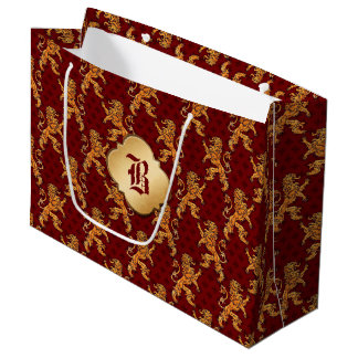 Medieval Gold Lion Red Fleur de Lis Large Gift Bag