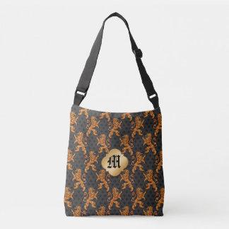 Medieval Gold Lions Fleurs on Black Crossbody Bag