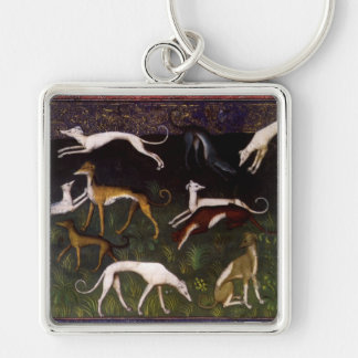 Medieval Greyhound Dogs in the Deep Woods Key Ring