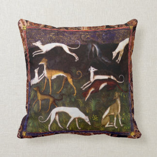 Medieval Greyhound Dogs on Paisley Cushion