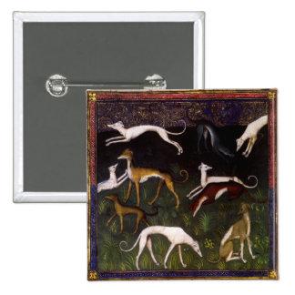 Medieval Greyhounds Fine Art 15 Cm Square Badge