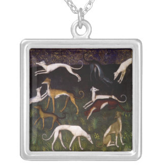 Medieval Greyhounds Fine Art Square Pendant Necklace