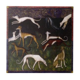 Medieval Greyhounds Fine Art Tile