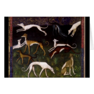 Medieval Greyhounds in the Deep Woods   Customized Greeting Card