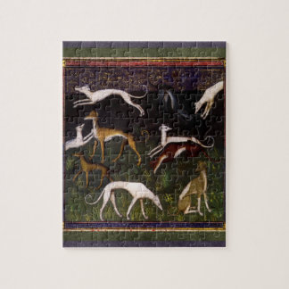 Medieval Greyhounds in the Deep Woods Jigsaw Puzzle