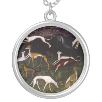 Medieval Greyhounds in the Deep Woods Round Pendant Necklace