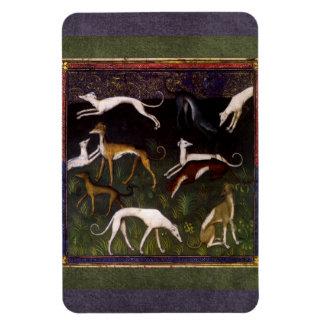 Medieval Greyhounds Run in the Deep Woods Rectangular Photo Magnet