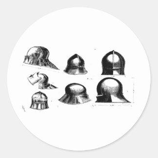 medieval helmets round sticker