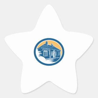 Medieval House Building in Bath Retro Star Sticker