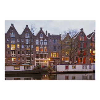 Medieval houses in Amsterdam the Netherlands Print