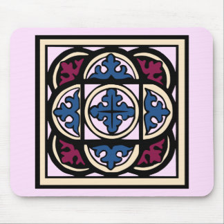 Medieval Illumination Blue Acanthus Leaves in Arcs Mouse Pad