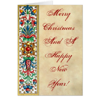 Medieval  Jewels Manuscript  Flowers Card