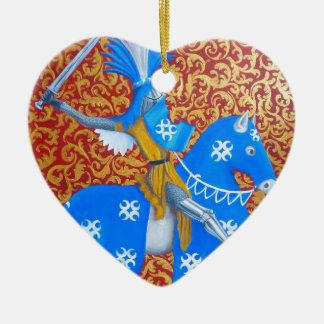 Medieval Knight Ceramic Heart Decoration