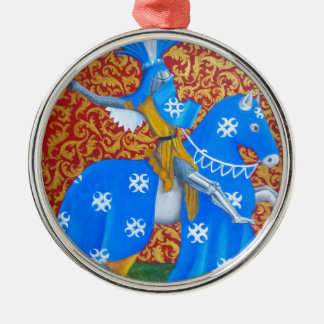 Medieval Knight Round Metal Christmas Ornament