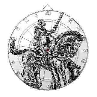 Medieval Knight Horse Vintage Woodblock Engraving Dartboard