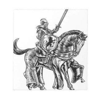 Medieval Knight Horse Vintage Woodblock Engraving Notepad