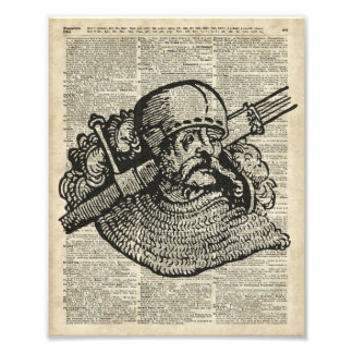 Medieval Knight Illustration On Dictionary Page Photograph