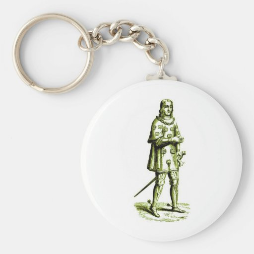 Medieval Knight in Armor Vintage Etching Key Chain