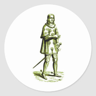 Medieval Knight in Armor Vintage Etching Round Sticker