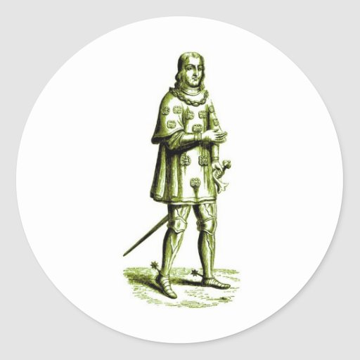 Medieval Knight in Armor Vintage Etching Stickers