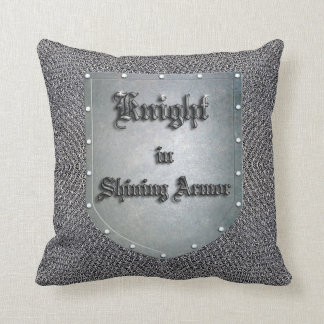 Medieval Knight in Shining Armor Shield Chainmail Cushion