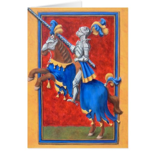 Medieval Knight Jousting Greeting Card